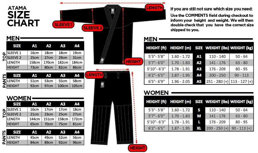 atama single weave size chart